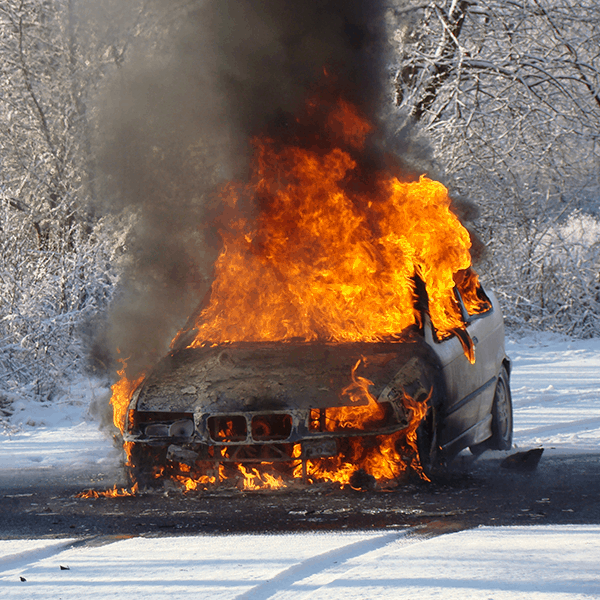 Hey Reno - 6 Tips to be a better Driver in the snow - Car on Fire