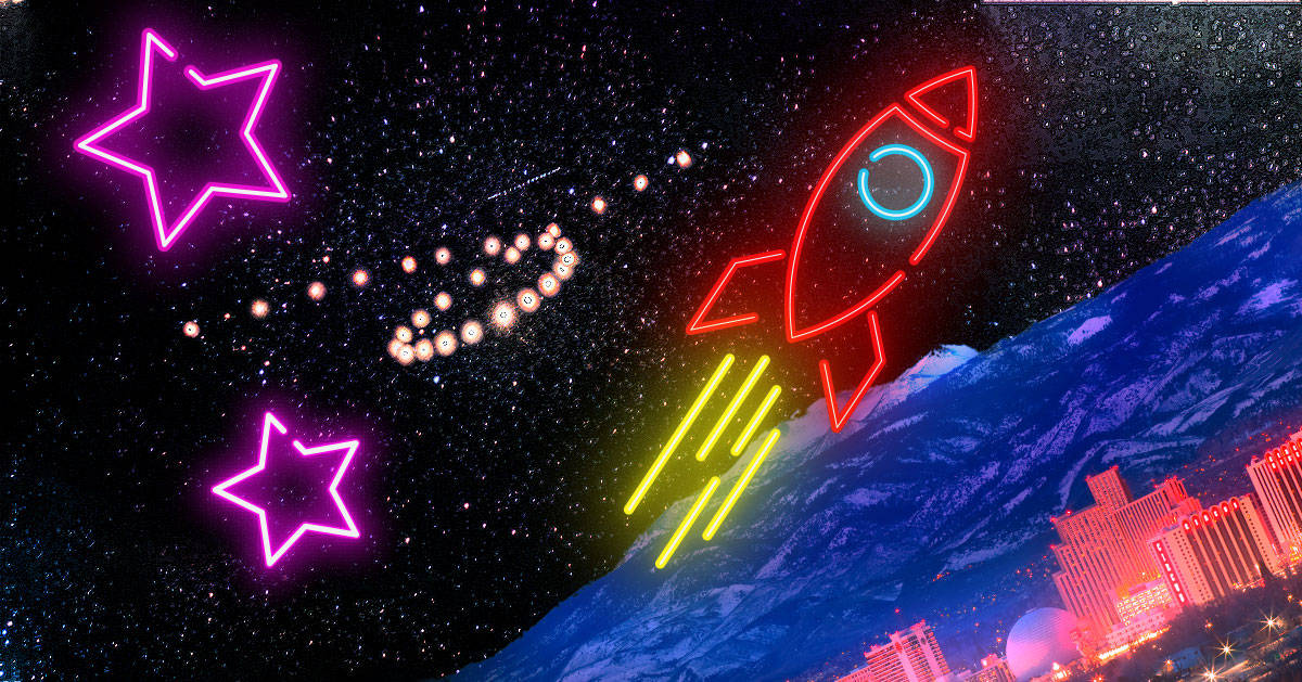 Mercury-Retrograde-cover neon rocket and pink stars over reno nevada at night